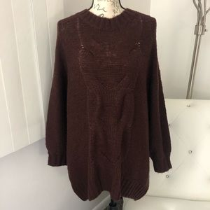 NEW Aerie Wool Blend Oversized Cable Knit Sweater